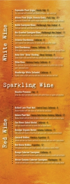 Sweet Carolines wine list
