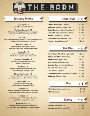 The Barn drink menu